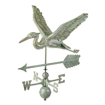verdigris copper heron weathervane