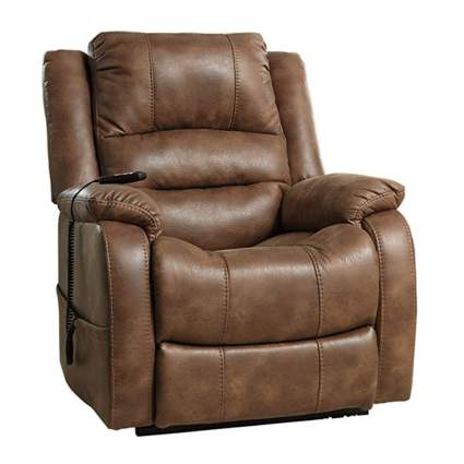 brown faux leather lift recliner