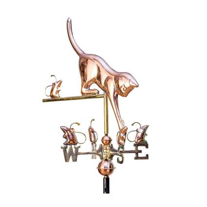 cat and mice polished copper weathervane