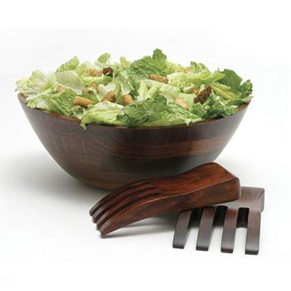 cherry finished wooden salad bowl and servers