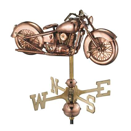 copper motorcycle weathervane