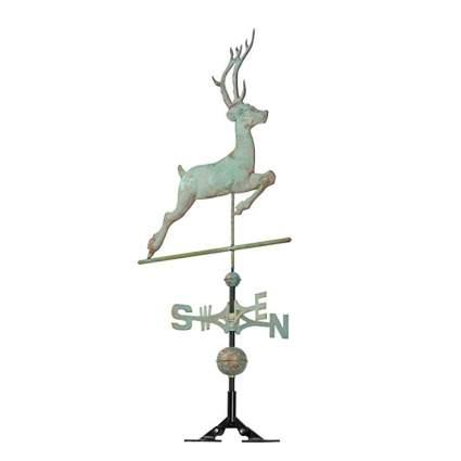 copper verdigris leaping buck weathervane