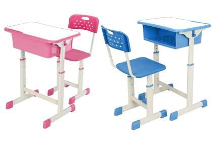 Pink and blue plastic desks