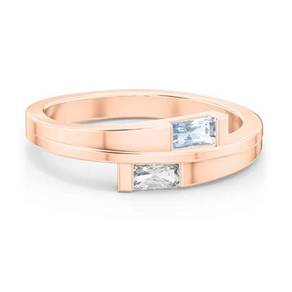 rose gold double baguette birthstone ring