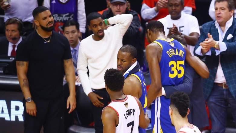 Drake reacts Kevin Durant injury Warriors Raptors