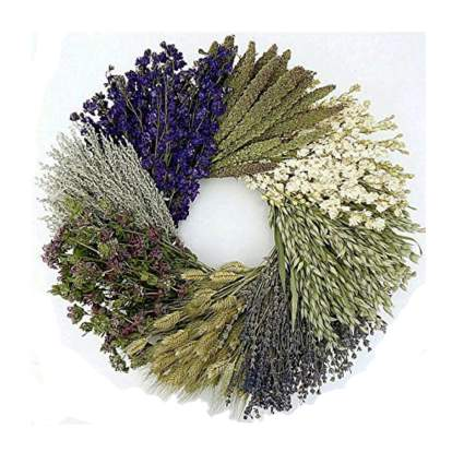 dried herb, flower and grass door wreath