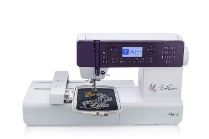 silver and purple sewing machine with monogram