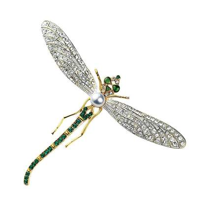 faux diamond and emerald dragonfly brooch