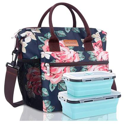 navy and pink floral insulated lunch tote
