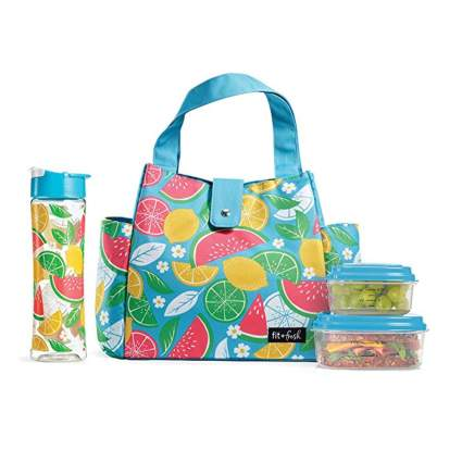 fruit print insulated lunch bag and water bottle