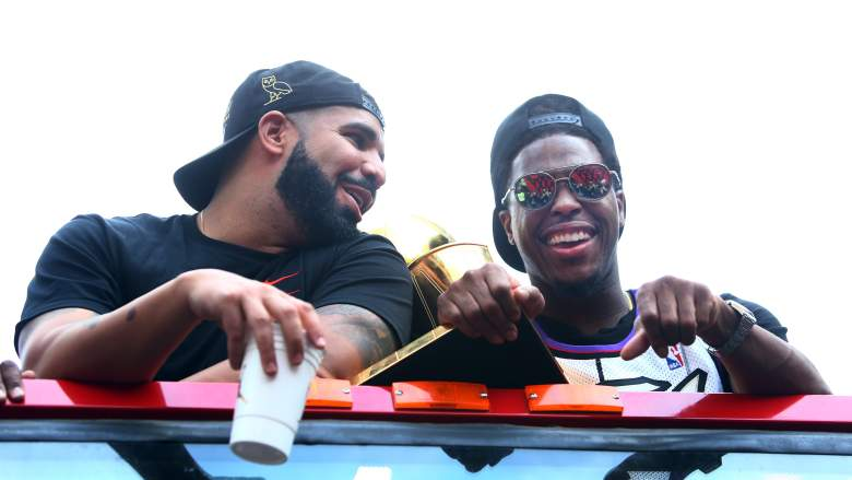WATCH: Drake Chugs Beer During Raptors Parade [Video]