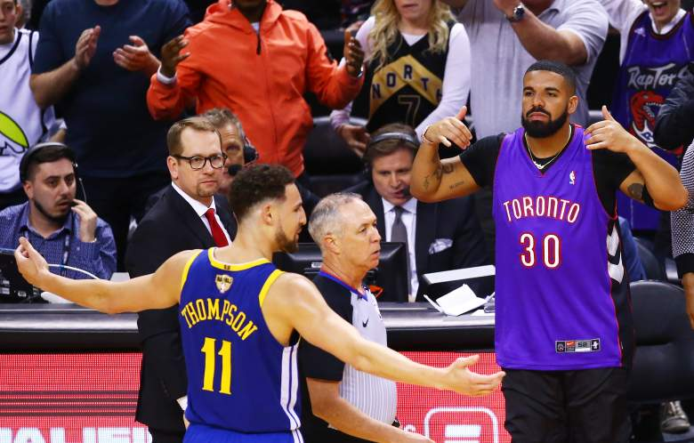 Drake reacts during Game 1 of the 2019 NBA Finals at Scotiabank Arena.