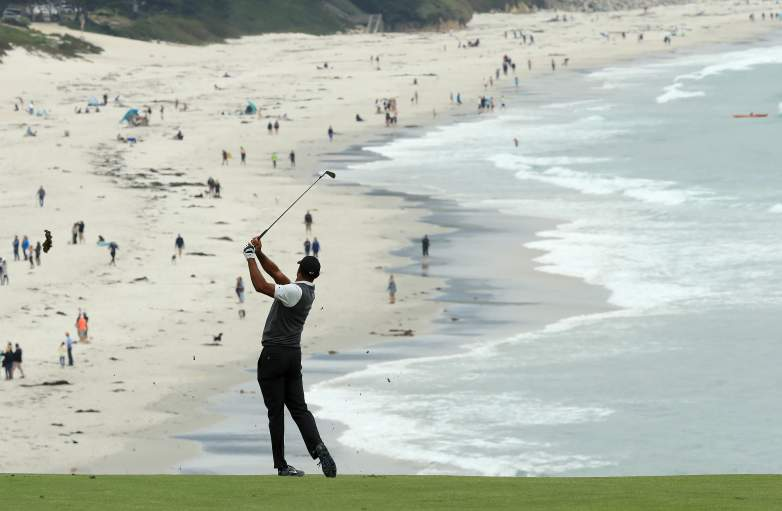 Tiger Woods shot a one under par 70 in Round 1 and is five off Justin Rose's lead at famed Pebble Beach.