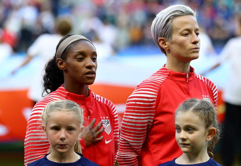U.S. co-captain Megan Rapinoe refuses to sing the national anthem out of protest during the 2019 FIFA Women's World Cup.