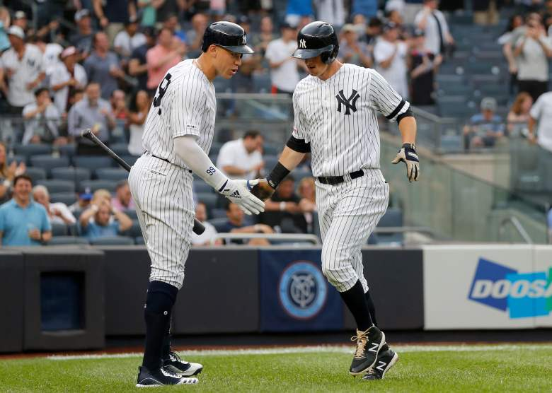 DJ LeMahieu and Aaron Judge went back-to-back to open the game against Toronto on Tuesday night, helping the Yankees set the MLB record for homering in consecutive games.