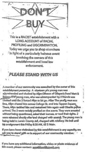 gibson bakery boycott flier
