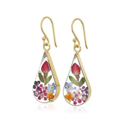 gold over sterling pressed flower earrings