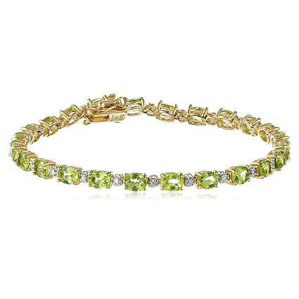 gold plated diamond and peridot tennis bracelet