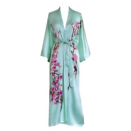 hand painted aqua silk kimono robe