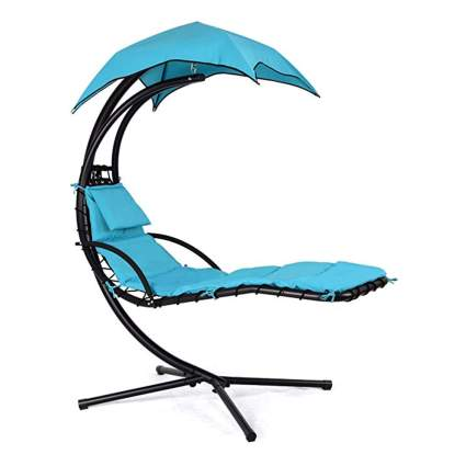 blue hanging chaise lounger chair