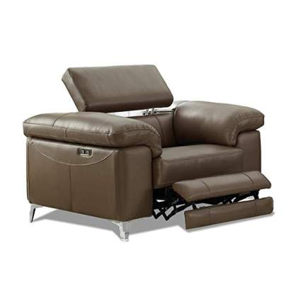 brown leather power headrest recliner
