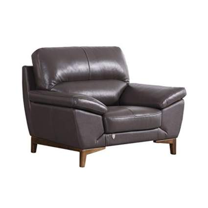 taupe italian leather chair with pillow top arm rests