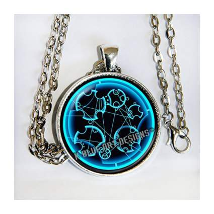 Necklace with blue Gallifreyan text