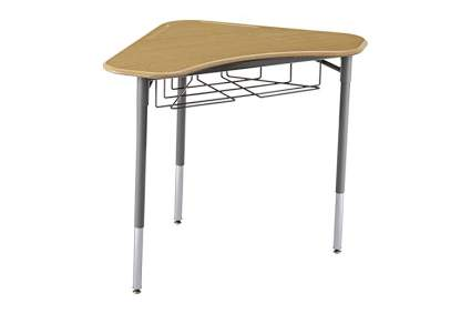 Triangle shaped school desk with wire basket