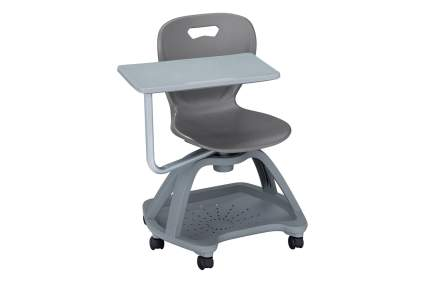 grey chair with attached desk