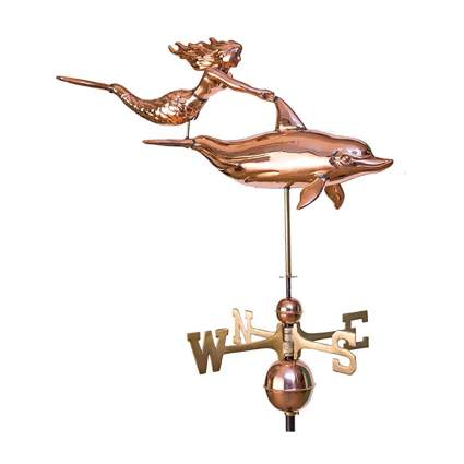 copper mermaid and dolphin weathervane