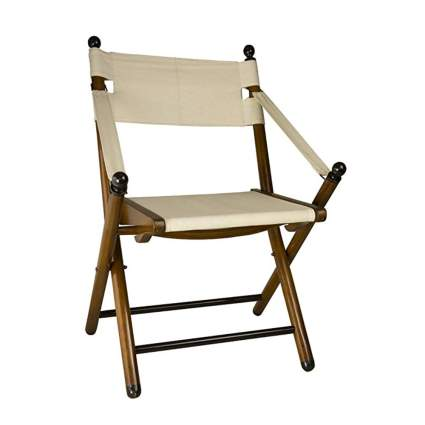 white and wood folding campaign chair