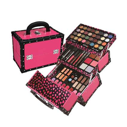 pink makeup case with makeup