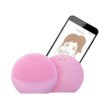 pink silicone smart facial cleansing brush