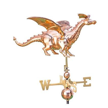 polished copper dragon weathervane
