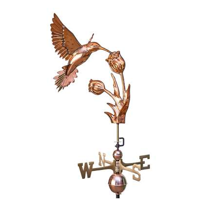 polished copper hummingbird and flower weathervane