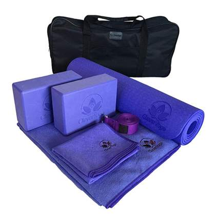 purple yoga kit with carrying case