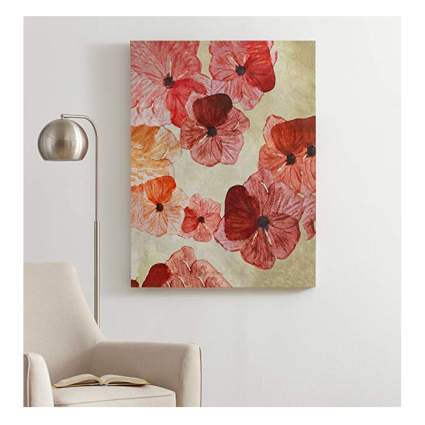 red and pink floral print on canvas