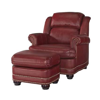 red faux leather overstuffed chair and ottoman