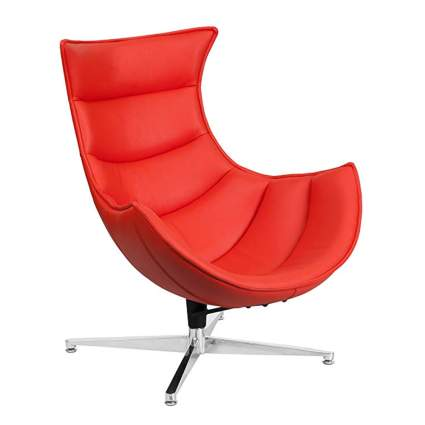 red leather cocoon chair