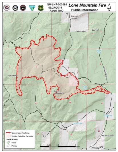 Lone Mountain Fire Map as of June 27
