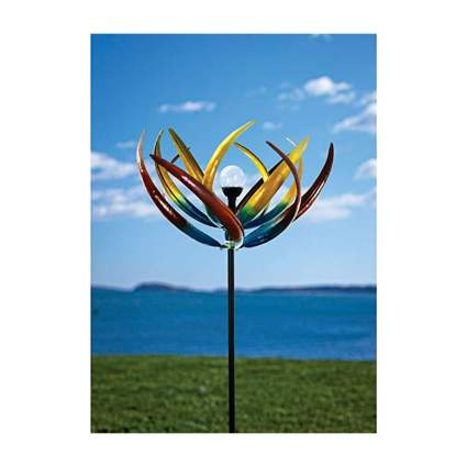 solar tulip multicolor metal wind spinner