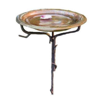 solid copper birdbath with iron twig stand