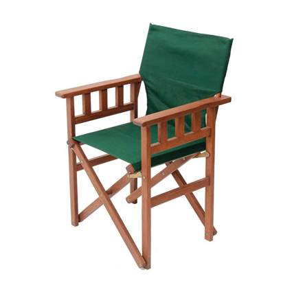 wood campaign chair with green seat