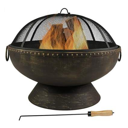 steel outdoor fire bowl with spark screen