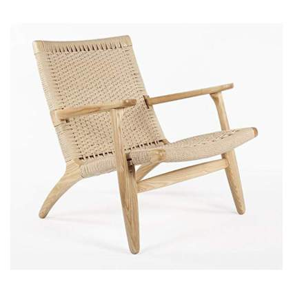 light wood safari chair with cord seat