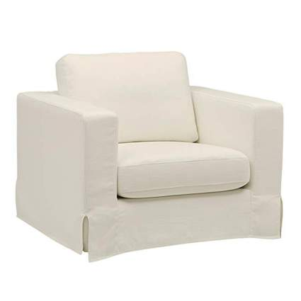 white accent chair with slipcover