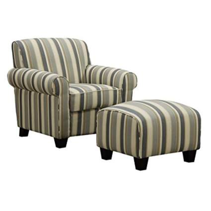 striped upholstered arm chair and ottoman