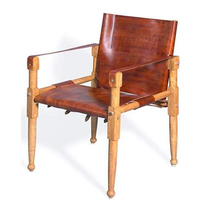oiled leather and wood safari chair