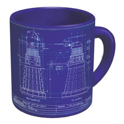 Dark blue mug with Dalek blueprints