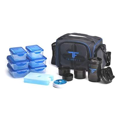 black insulated meal prep bag